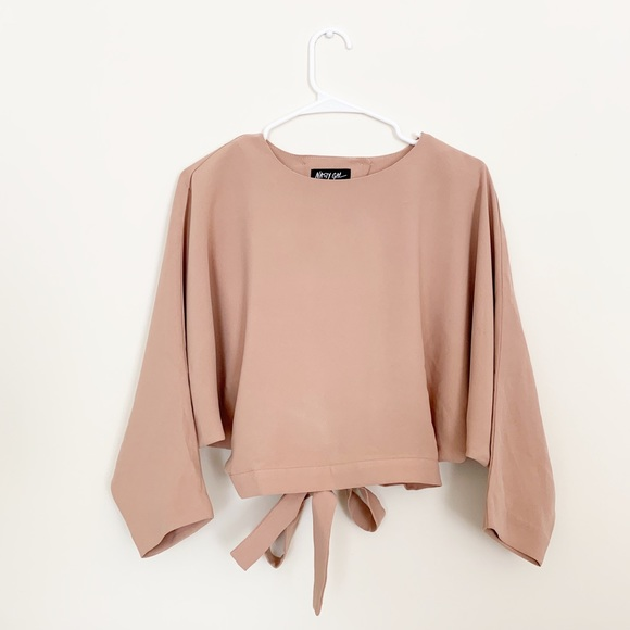 Nasty Gal Tops - NWT Nasty Gal Open Back Blush Long Sleeve Blouse